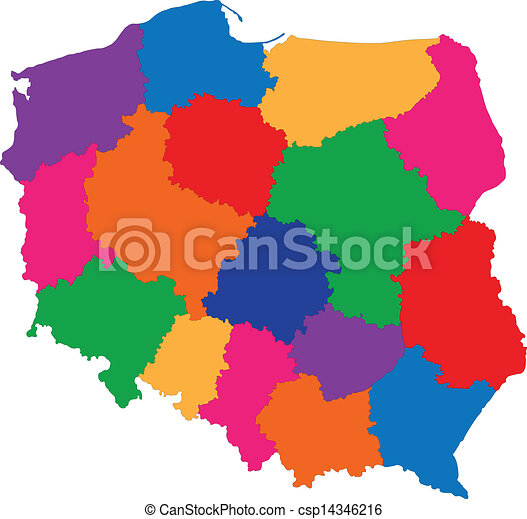 Poland map Administrative division of the republic of vector