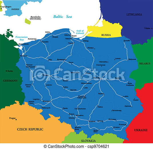 Map Of Germany With Neighbouring Countries.Poland Map