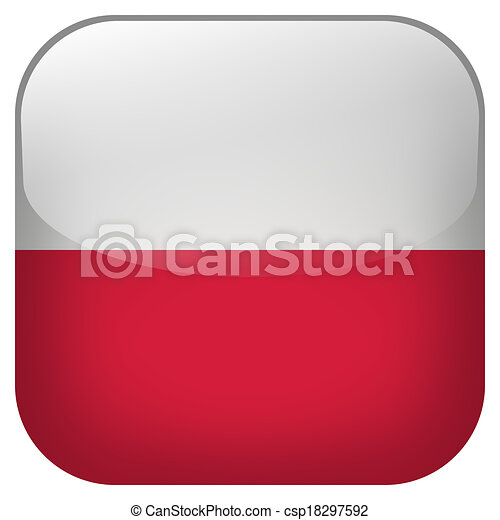 poland national flag square button isolated on white background