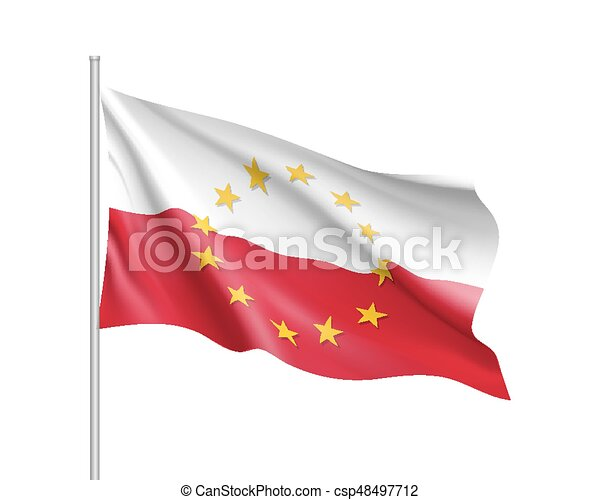 poland national flag with a star circle of eu poland national