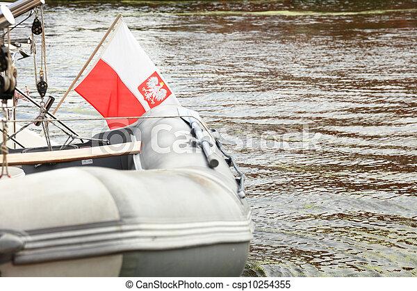 Poland Polish Ensign Flag on yacht sea - csp10254355
