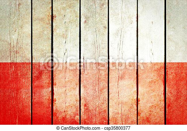 Poland wooden grunge flag. - csp35800377