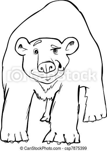 Cartoon illustration of funny polar bear coloring page eps vectors ...