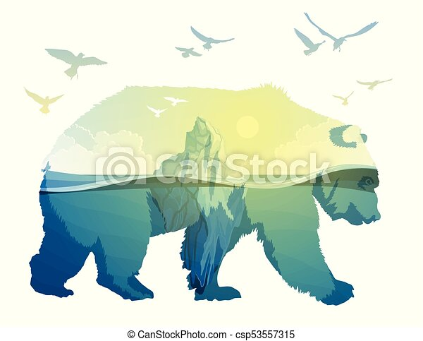 Polar Bear, global warming. Double exposure - csp53557315
