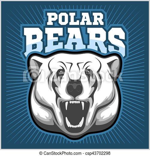 Polar Bear Head mascot - vector illustration - csp43702298