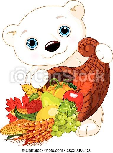 Polar Bear Holds Cornucopia - csp30306156