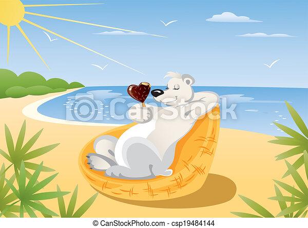 Polar Bear On The Beach - csp19484144