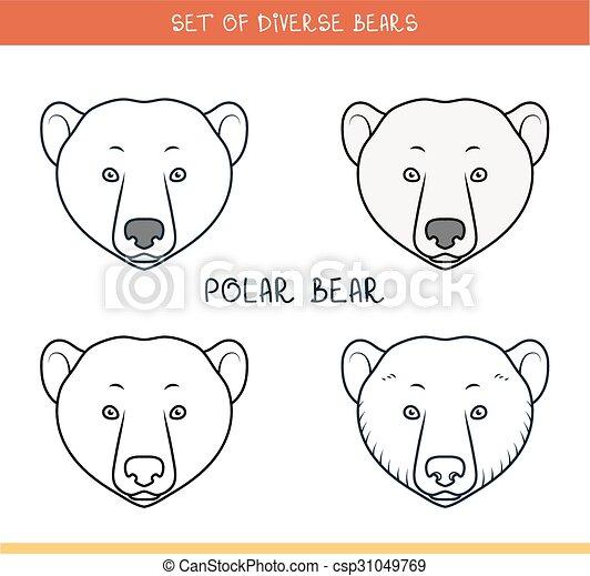 Polar bear set isolated face heads bear in color lines polar polar bear set isolated face heads bear in color lines csp31049769 maxwellsz