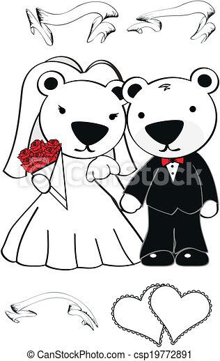 Bodas de dibujos de oso polar - csp19772891