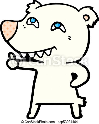 Oso polar de dibujos animados dando señal - csp53934464