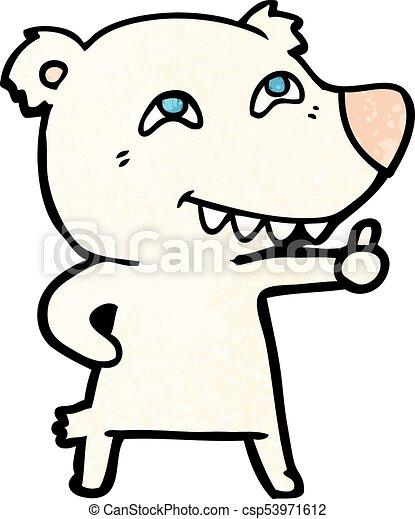 Oso polar de dibujos animados dando señal - csp53971612