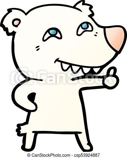 Oso polar de dibujos animados dando señal - csp53924887