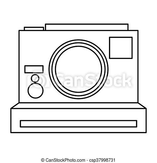 polaroid ligne appareil photo photographique noir plat style appareil photo polaroid. Black Bedroom Furniture Sets. Home Design Ideas