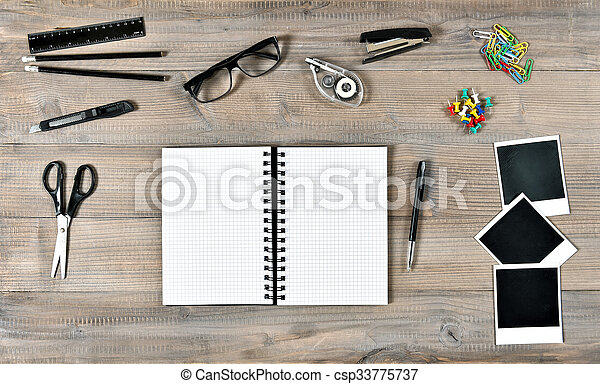 Polaroid photo frames and writing tools office school. Office and ...