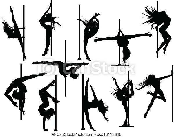 Pole Dancer Silhouettes Vector. Pole dancer silhouettes  Vector set eps vector   Search Clip Art