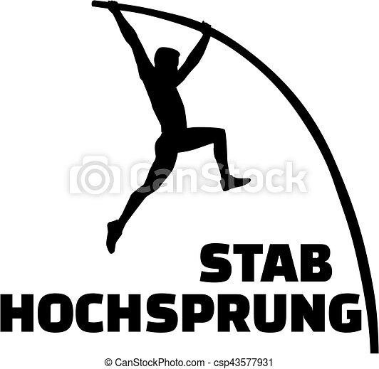 vault gymnastics silhouette. Pole Vault Silhouette With German Word - Csp43577931 Gymnastics