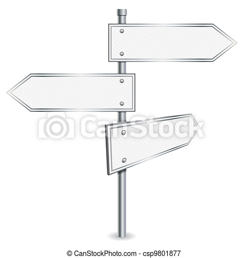 Pole with Road Signs - csp9801877