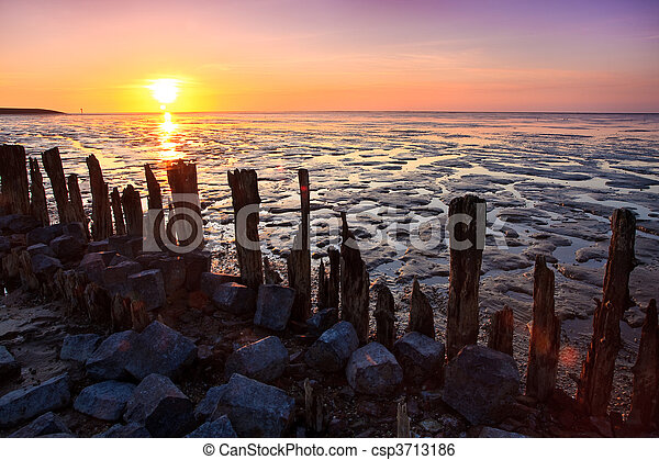 Poles in the ocean at sunset - csp3713186
