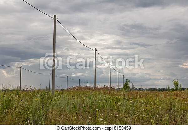 poles with electricity in the - csp18153459