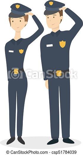 Pareja de policía aislada. - csp51784039