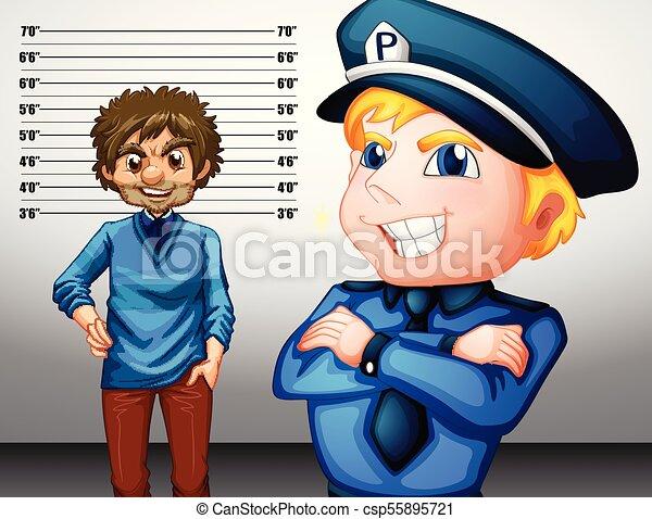 Policía con uniforme y criminal - csp55895721