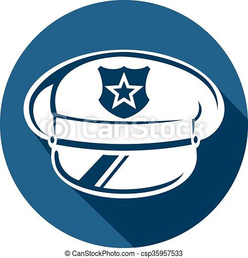 policía, sombrero, plano, icono - csp35957533
