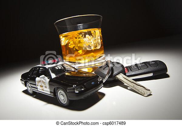 police, alcoolique, clés, voiture, boisson, suivant, patrouille, autoroute - csp6017489
