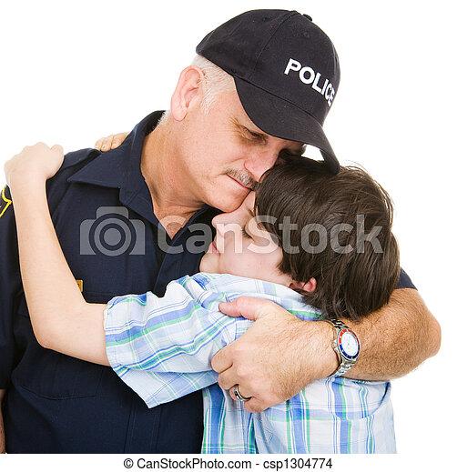 Police and Boy Hug - csp1304774