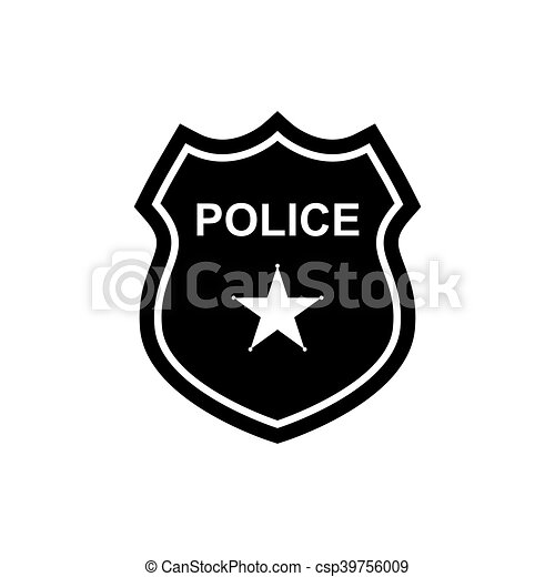 Police Badge Icon Vector Police Badge Icon Silhouette Vector