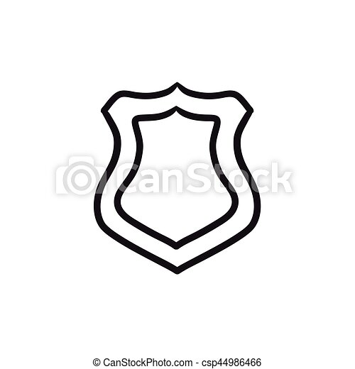 Police Badge Sketch Icon Police Badge Vector Sketch Icon Isolated