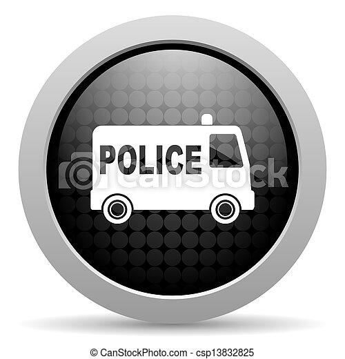 police black circle web glossy icon - csp13832825