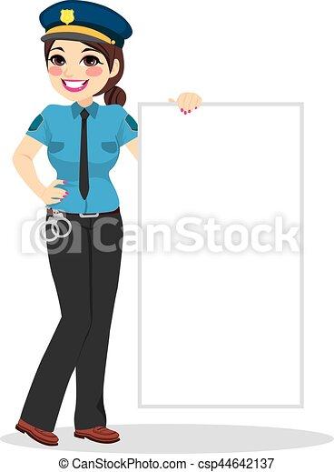 police, blanc, femme, bannière, tenue - csp44642137