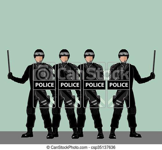 police, boucliers, émeute - csp35137636