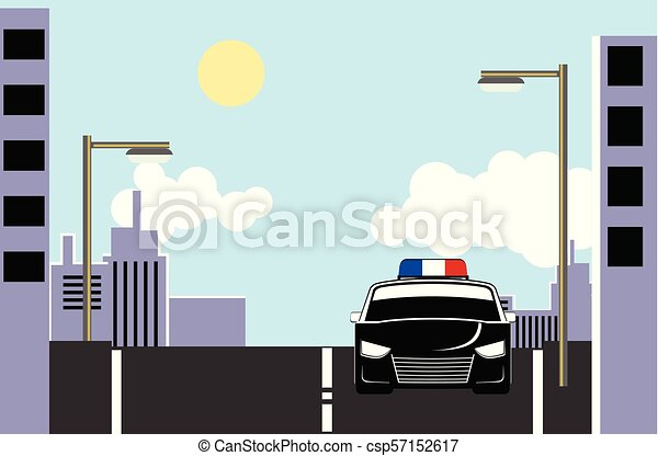 Police car in the street a day vector - csp57152617
