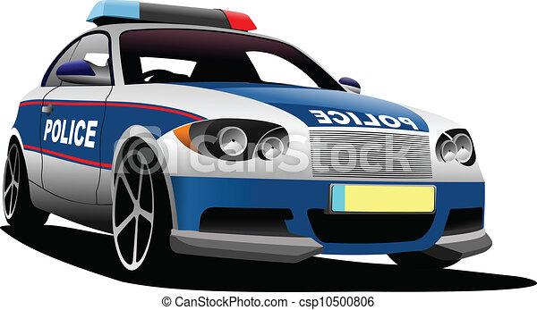 Police Car Municipal Transport Vector Illustration Vector