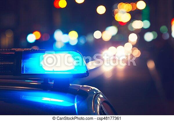 Police car on the street - csp48177361