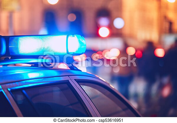 Police car on the street - csp53616951