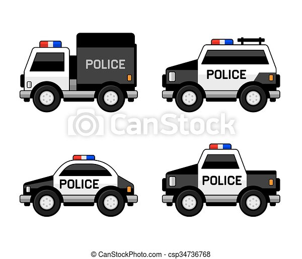Police Car Set Classic Black And White Colors Vector Clip Art