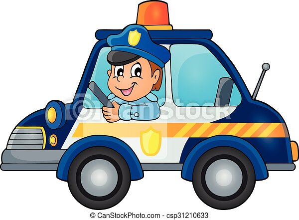 police car theme image 1 eps10 vector illustration vectors rh canstockphoto com clip art police cars with flashing lights police cartoon clipart