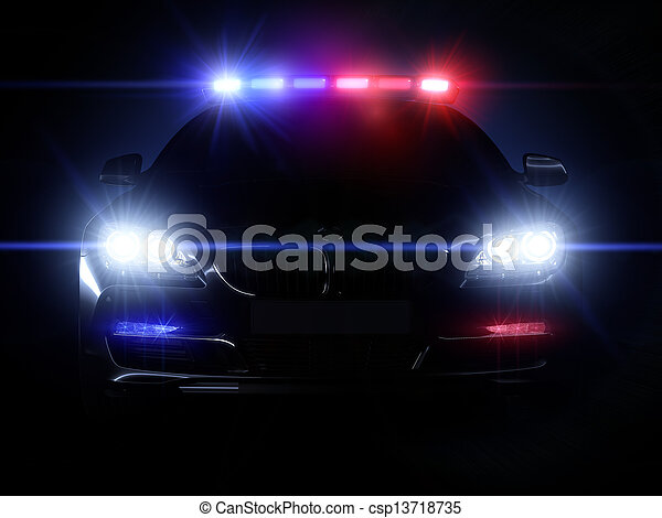 Police car, with full array of lights - csp13718735