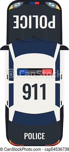 Police Car With Top View Solid And Flat Color Style Design
