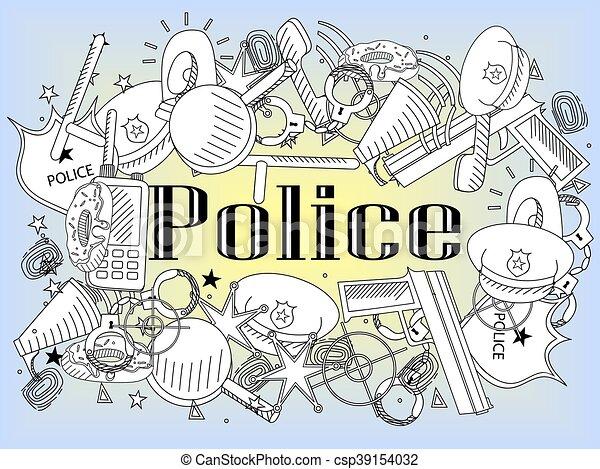 Police Coloring Book Vector