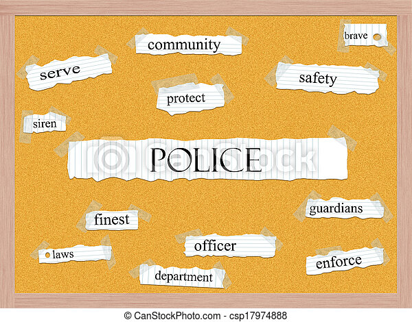 Police Corkboard Word Concept - csp17974888