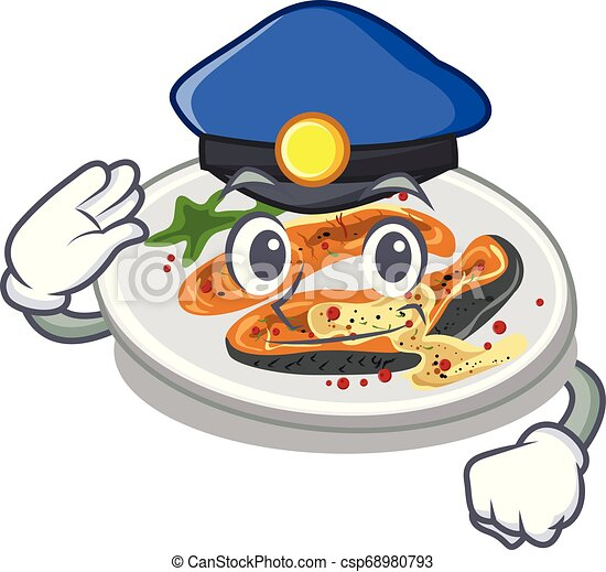 Police grilled salmon isolated in the mascot - csp68980793