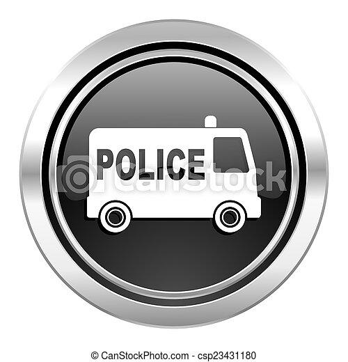 police icon, black chrome button - csp23431180