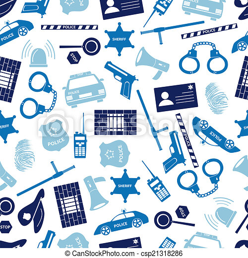 police icons blue color seamless pattern eps10 - csp21318286