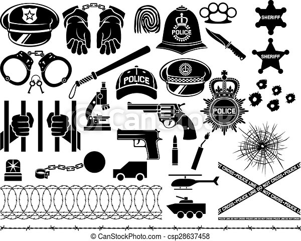 police icons set  - csp28637458