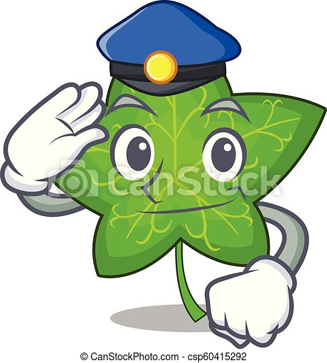Police ivy leaf isolated on character cartoon - csp60415292