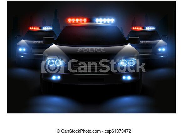 Police Led Lights >> Police Light Bar Composition Car Led Lights Realistic Composition
