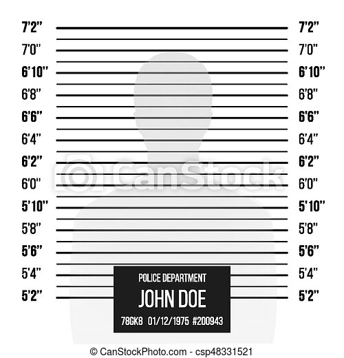 Police Mugshot Vector. Police Lineup Isolated On White Background Illustration - csp48331521